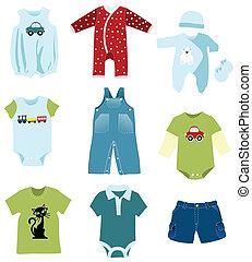 chłopiec niemowlęcia, elementy, odzież