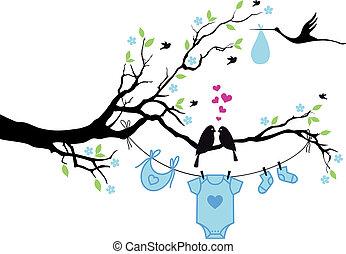 chłopiec niemowlęcia, wektor, ptaszki, drzewo