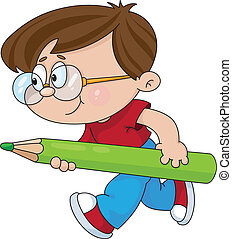 chłopiec, ołówek