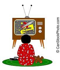 chłopiec, oglądając tv