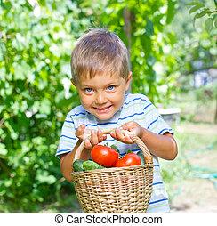chłopiec, ogrodnictwo