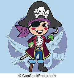 chłopiec, pirat, kostium
