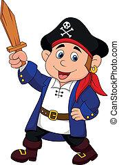 chłopiec, pirat, rysunek