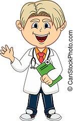 chłopiec, -, rysunek, doktor