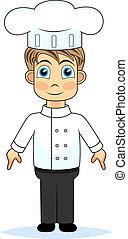 chłopiec, rysunek, mistrz kucharski, sprytny