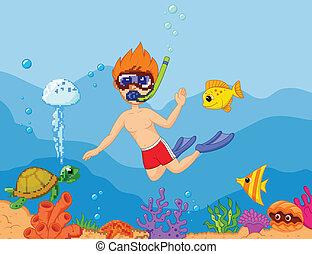 chłopiec, rysunek, snorkeling
