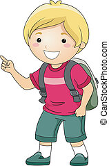 chłopiec, student, palec spoinowanie