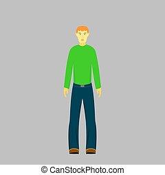 chłopiec, sweter, zielony