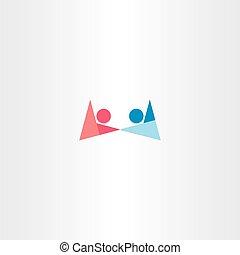 chłopiec, symbol, dzierżawa wręcza, logo, dziewczyna, abstrakcyjny