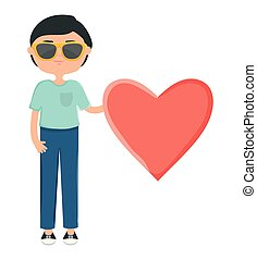 chłopiec, szczęśliwy, sunglasses, młody, serce