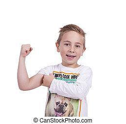 chłopiec, uśmiechanie się, flexing biceps