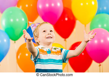 chłopiec, urodziny, dziecko, partia, uśmiechanie się, balony