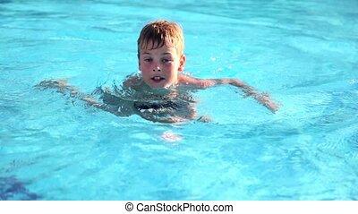 chłopiec, wtedy, pływał, precz, kałuża, stać, skokowy, pływacki