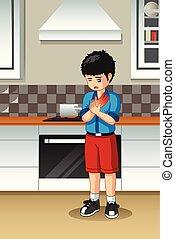 chłopiec, wypalony, jego, kuchnia, ręka