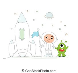 chłopiec, -, zabawny, sprytny, astronauta, cudzoziemiec, odizolowany, ilustracja