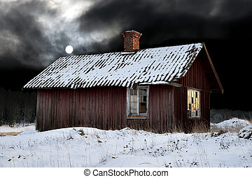 chałupa, wieczorny, stary, zima