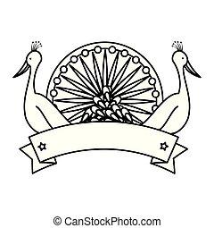chakra, pawie, indianin, ptaszki, ashoka