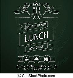 chalkboard., menu, lunch, restauracja