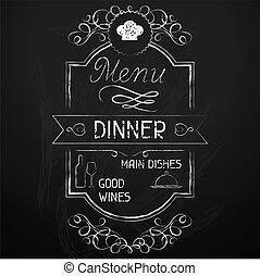 chalkboard., menu, obiad, restauracja