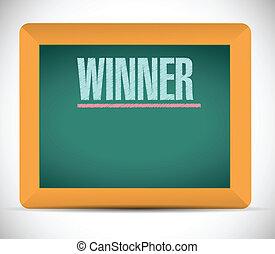 chalkboard., pisemny, zwycięzca, słowo, ilustracja