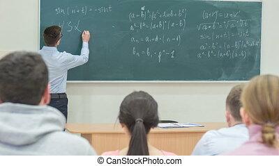 chalkboard., profesor, pisanie