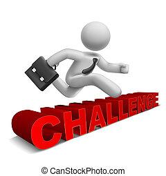 'challenge', słowo, na, skokowy, biznesmen, 3d