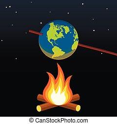 change., klimat, concept., globalny, ilustracja, planeta, wektor, ognisko, ziemia, ocieplać