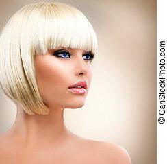 charakteryzacja, dziewczyna, portrait., hair., szykowny, hairstyle., blond, blondynka