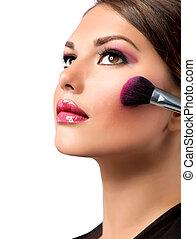 charakteryzacja, makeup., blusher, applying., rouge.