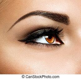 charakteryzacja, makeup., oczy, brązowy, oko