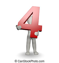 charcter, dzierżawa, liczba czterej, ludzki, 3d