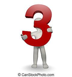 charcter, ludzki, trzy, liczba, dzierżawa, 3d