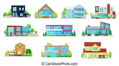 chata, dom, dwór, willa, płaski, dom, ikony