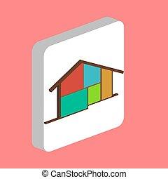 chata, dom, symbol, komputer