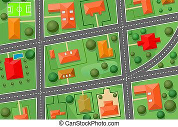 chata, mapa, wieś