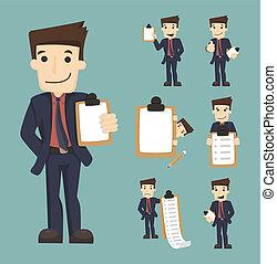checklist, komplet, litery, biznesmen