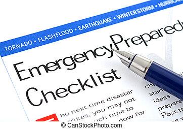 checklist, przygotowanie, nagły wypadek