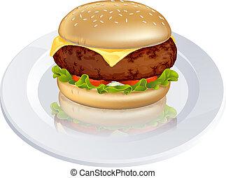 cheeseburger, beefburger, illustra, albo