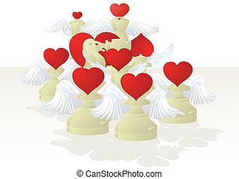 chessmen, biały, kochliwy
