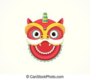 chińska litera, powitanie, taniec, lew, tło, karta, rok, nowy, smok, czerwony