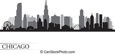 chicago, szczegółowy, sylwetka na tle nieba, miasto, sylwetka