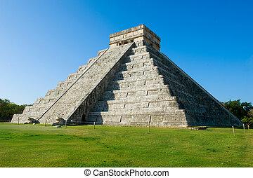 chichen, mayan, piramida, itza, meksyk