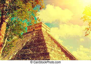 chichen, piramida, meksykanin, itza, turystyczny, mexico., mayan, umiejscawiać, starożytny