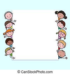 children., czysty, dzieciaki, hand-drawn, rysunek, kopia, patrząc, sprytny, tło, space., znak