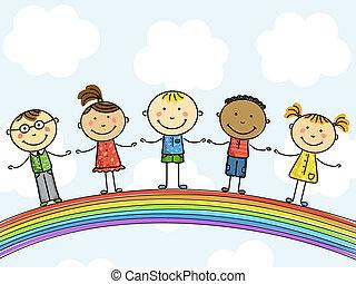 children., illustration., wektor