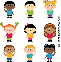 children., rozmaity, wektor, grupa, ilustracja