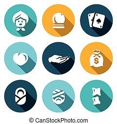 chiropractic., komplet, magia, prorok, miłość, bogactwo, icons., gojenie, wektor, babunia, tarot, położna, healer, dłoń, piłka, wróżba