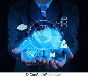chmura, bezpieczeństwo, handlowy, biznesmen, dotyk, internet, 3d, komputerowa ikona, ekran, online, ręka, pojęcie