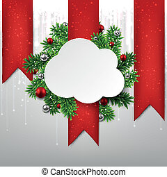 chmura, card., papier, boże narodzenie, biały