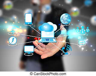 chmura, dzierżawa, biznesmen, technologia, obliczanie, pojęcie